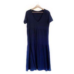 Zara Black Short Sleeve V-Neck Tiered Maxi Dress
